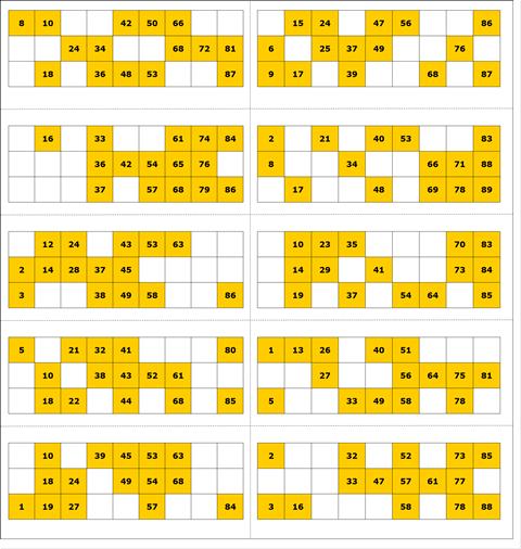 free 90 number bingo